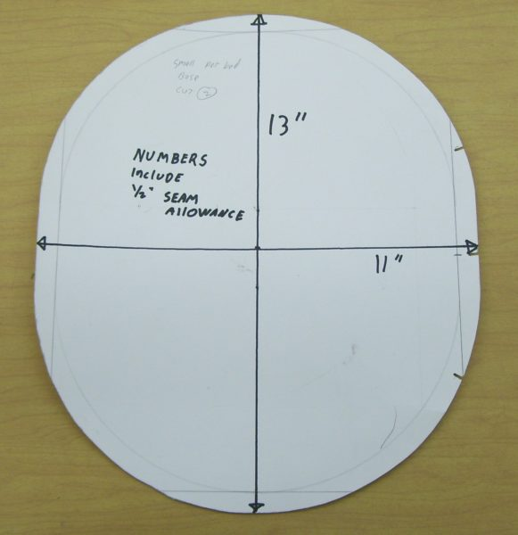 Oval pet bed pattern