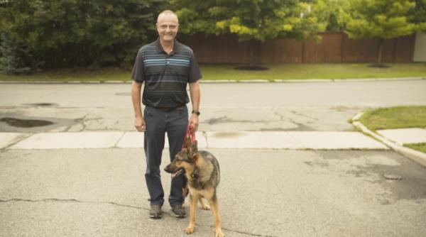 Dan and service dog Nakita, PTSD