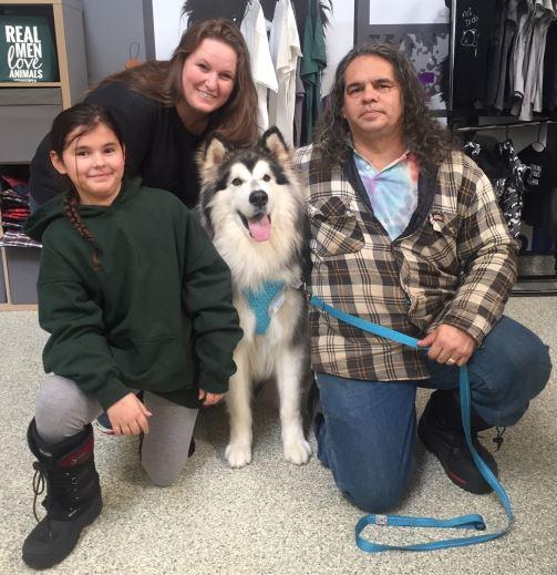 Family with dog, dog adoption