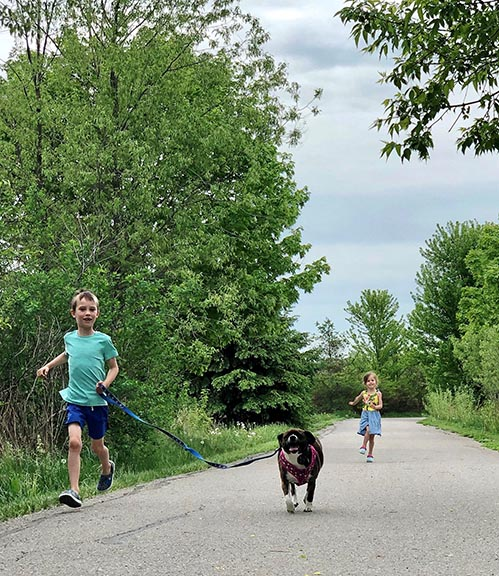 sweat for pets, kids running